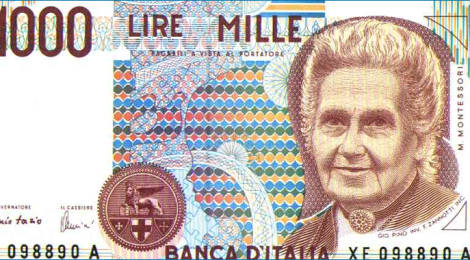 Maria Montessori portrait on the old Italian note worth 1000 lire
