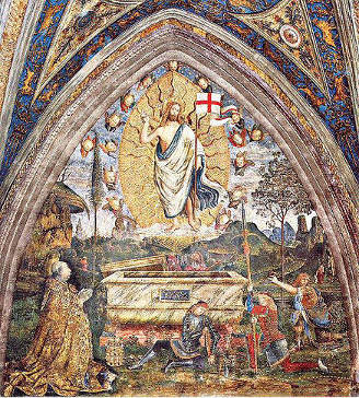 Pinturicchio: Resurrection of Christ with pope Alexander VI on his knees